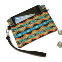 Southwestern style zippered coin purse wristlet, phone wallet, under 20 women gift idea
