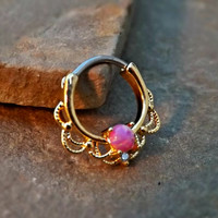 Gold Septum Clicker Pink Fire Opal Nose Jewelry 16ga Daith Ring Clicker Bull Ring Nose Piercing