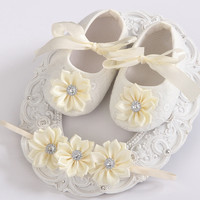 Soft Soled Girls baby Shoes Rhinestone Headband Set,Cute Toddler Boots,Sapato Bebe,Christening Baptism Shoes,Shower Gift,#2T0059