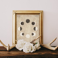 Moon Phase Art, Moon Print, Moon Phase Print, Phases of the moon