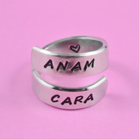 ANAM CARA - Hand Stamped Spiral Aluminum Ring, Celtic Friendship Ring, Soul Friends Ring