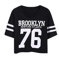 Brooklyn Jersey Cotton Floral Printed Loose  Short Sleeve Crop Top Shirt Blouse Top T-Shirt Bare Midriff Smock _ 4322