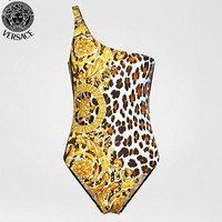Versace New fashion leopard print vest one piece bikini swimsuit