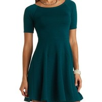 Textured Off-the-Shoulder Skater Dress - Shaded Spruce