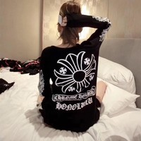 """""""Chrome Hearts"""" Women Casual Personality Letter Cross Pattern Print Long Sleeve Sweater Tops"""