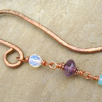 Handmade Copper Bookmark Hammered Copper Beaded Bookmark Under 15