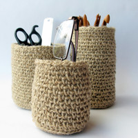 Office Organizer / Crochet Jute Covered Pot / 100 % natural materials / Ready to ship