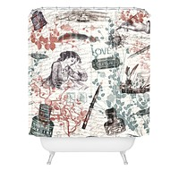 Belle13 Love Letters Vintage Shower Curtain