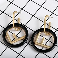 Fendi New fashion letter round long earring women Black