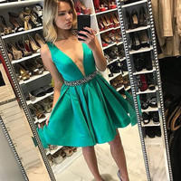 Green Deep V Neck A-Line Homecoming Dress with Beadings