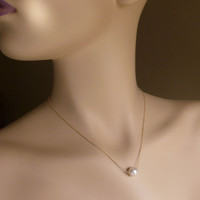 "Floating Pearl Necklace, Single Swarovski Pearl Layering Necklace, 14k Gold Filled Bridal Necklace 16"" - 17"", 18"" - 20"""