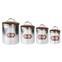 4 Piece Cucina Hammered Metal Canister Set