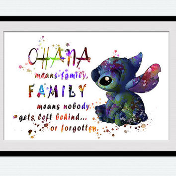 Lilo and Stitch art print Ohana Stitch quote colorful poster Disney art painting Home decoration Kids room wall art Nursery room decor W489
