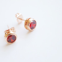 18K Rose Gold Red Solitaire earring studs