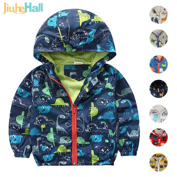 2-5 years  Children's Hooded Jackets Summer Boy and Girl Outwear Fashion Long Sleeve Dinosaur Print Coat For Kids CMB187