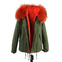 winter  raccoon fur collar hooded coat parkas jacket