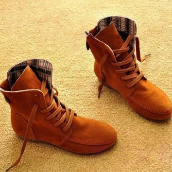 Women Suede Lace Up Winter Warm Boots Flat Ankle Shoes