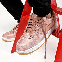 Nike x CLOT Air Force 1 Fashionable Women Men Casual Pink Silk Sport Shoes Sneakers