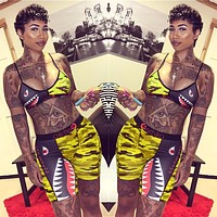 New fashion shark print camouflage straps top and shorts two piece suit