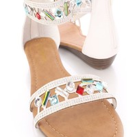 White Perforated Faceted Beaded Strap Sandals Faux Leather