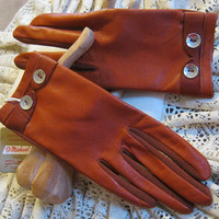 Soft rust color leather and stretchy nylon wrist gloves made in Britain size 7