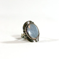 Blue Circle Natural Stone Silver Boho One Size Adjustable Handcrafted Ring