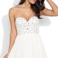 Strapless Stone Trim Corset Dress with Curly End Skirt
