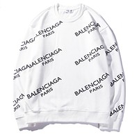 Balenciaga hot seller of stylish couples' printed hoodies with rounded necks and long sleeves White