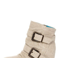 Blowfish Tugo Natural Cozumel Linen Belted Wedge Booties