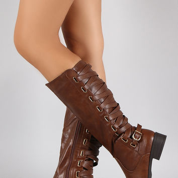 Strappy Buckle Corset Round Toe Riding Knee High Boots
