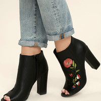 Asta Black Embroidered Peep-Toe Booties
