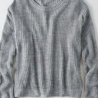 Don't Ask Why Oversized Crew Sweater, Iced Mocha | American Eagle Outfitters