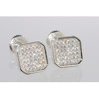 CZ Earrings Sterling Silver Screwback Studs 9mm Clear Rounded Square