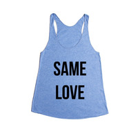 Same Love Gay LGBT Pride On Lesbian Bisexual Transgender Asexual Pansexual Relationship Relationships SGAL6 Women's Racerback Tank