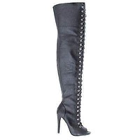 Shallow By Dollhouse, Thigh High Peep Toe Corset Elastic Lace Stiletto High Heel Boots