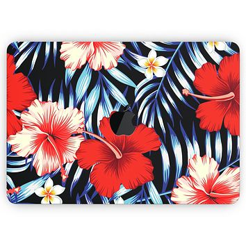"""Vivid Tropical Red Floral v1 - Skin Decal Wrap Kit Compatible with the Apple MacBook Pro, Pro with Touch Bar or Air (11"""", 12"""", 13"""", 15"""" & 16"""" - All Versions Available)"""
