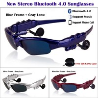 New Anti-UV Earphone Wireless Bluetooth 4.0 Stereo Sunglasses Glasses Support Music + Phone Call for Camping Mountain Climbing