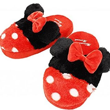Minnie Mouse Women Plush Slippers Red Size 7-9