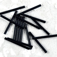 Black Bugle Beads Loose - Tube - Barrel - Also in Assorted Colours - Red Blue Peacock - 30mm - Jewellery and Craft Supplies - 20 pcs