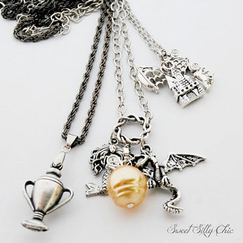 The Tri-Wizard Tournament Necklace, Harry Potter Goblet of Fire Tri- Wizard Tournament Inspired Triple Layer Necklace, Harry Potter Jewelry