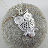 Big Silver Owl necklace, Owl necklace, sterling silver necklace, animal necklace, elegant necklace, long necklace, sterling silver owl