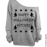 Happy Halloween Witches - Gray Slouchy Oversized Sweatshirt