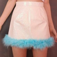Glitters For Dinner — Made To Order - Michelle White Glitter Skirt with Blue Fur