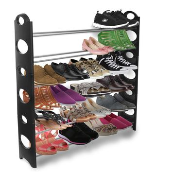 OxGord® Shoe Rack Storage Organizer, 10-Tier 50-Pair High Quality Portable Wardrobe Closet Bench Tower - Stackable, Adjustable Shelf - Strong & Sturdy Space Saver Wont Weaken or Collapse - Black