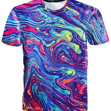 Crew Neck Abstract Painting Tee