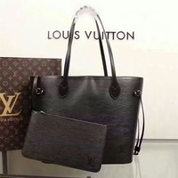 Kuyou Lv Louis Vuitton Gb29714 40882 Black New Wave Epi Leather Neverfull Medium Handbag 32x29x17cm