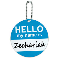 Zechariah Hello My Name Is Round ID Card Luggage Tag