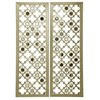 Quatrefoil Mirrored Metal Panel Plaques, Set of 2 | Kirklands