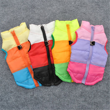 Colorful Cute Puppy Pet Dog Cat Winter Coat Padded Vest Coat Jacket Costumes