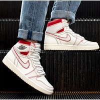 Air Jordan 1 Retro High OG New fashion hook high top couple shoes White